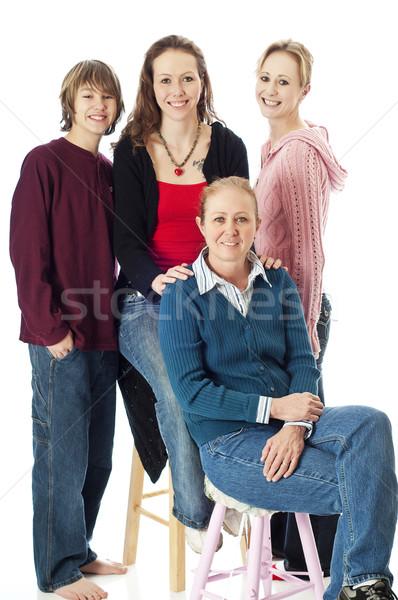 Aile portre anne çocuklar poz portre aile Stok fotoğraf © rcarner
