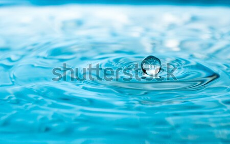 Suspended drop above clear aqua pool Stock photo © rcarner