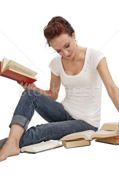 довольно женщину чтение книгах привлекательный Сток-фото © rcarner