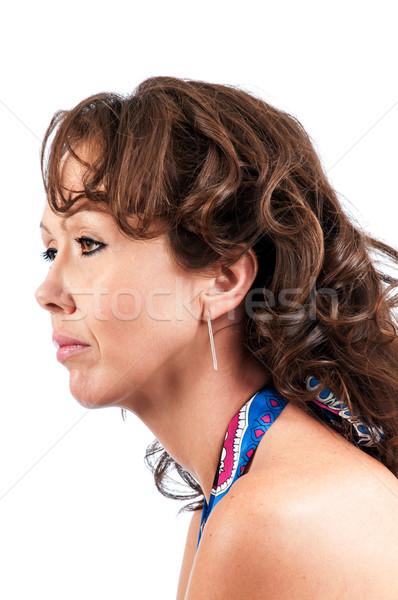 Oldal profil csinos barna hajú gyönyörű fiatal nő Stock fotó © rcarner