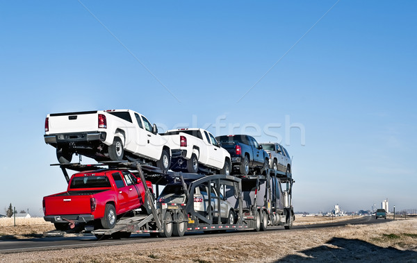 Big truck with car-hauling trailer Stock photo © rcarner