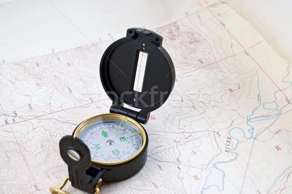 Mapa brújula sesión papel viaje historia Foto stock © rcarner