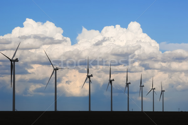 Wind Generators Silhouetted in the Evening Stock photo © rcarner
