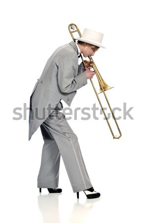Marching woman trombone player Stock photo © rcarner