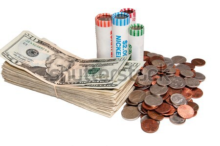 Stack of USA Currency and Rolls of Coins Stock photo © rcarner