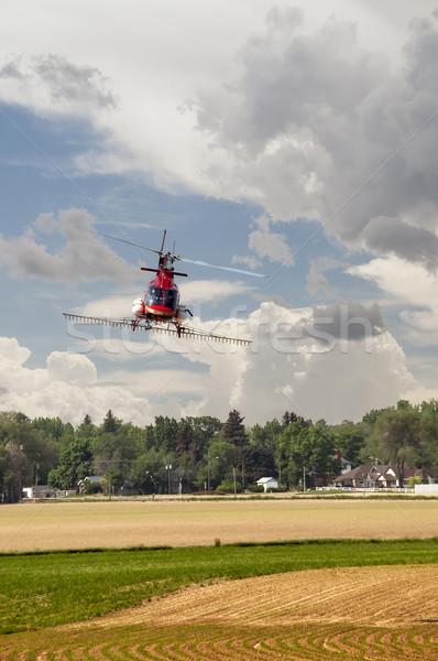 Gewas helikopter gebruikt meststof veld Colorado Stockfoto © rcarner