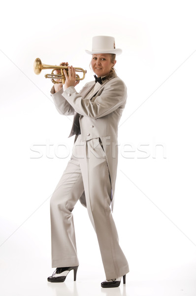 Pretty woman trumpet player Stock photo © rcarner