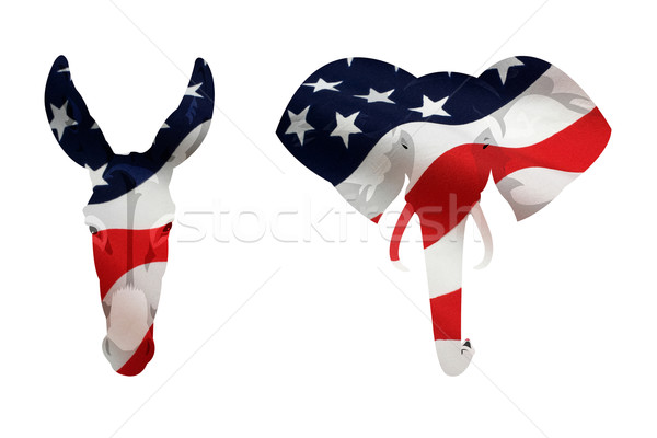 Amerikaanse democraat ezel republikein olifant symbool Stockfoto © rcarner