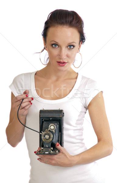 Atraente velho câmera bastante mulher jovem Foto stock © rcarner