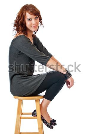 довольно стул красивой сидящий кухне Сток-фото © rcarner