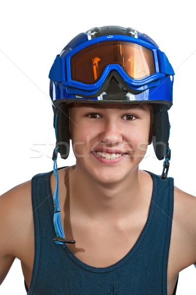 Jovem adolescente esquiador pronto ensolarado adolescente Foto stock © rcarner