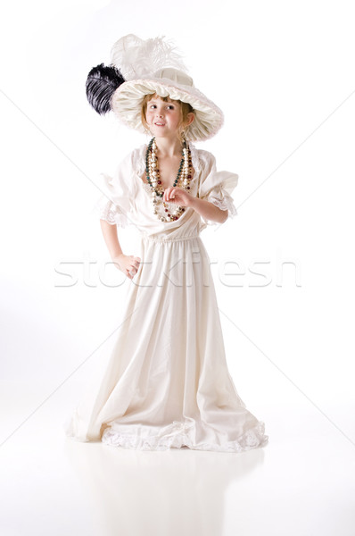 Little girl jogar seis roupa menina Foto stock © rcarner