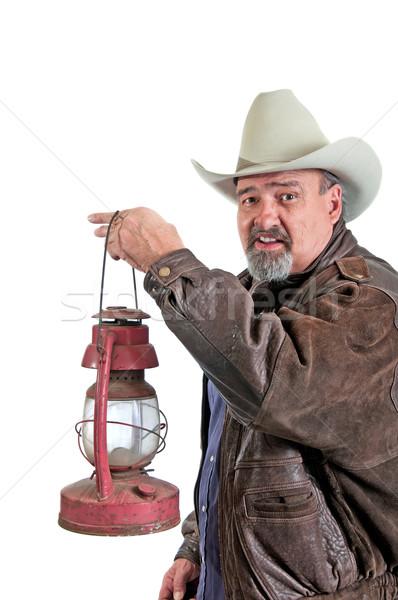 Smiling Cowboy With Lantern Stock photo © rcarner