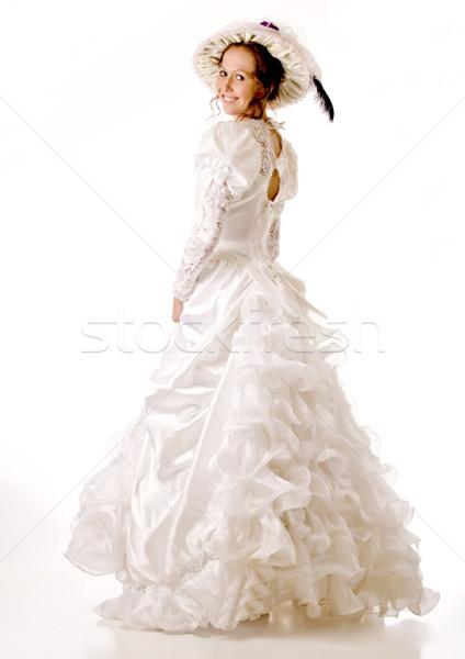 Esküvői ruha kalap idő ruházat 30-as évek 40-es évek Stock fotó © rcarner