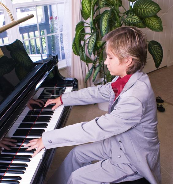 Young man preparing for recital Stock photo © rcarner