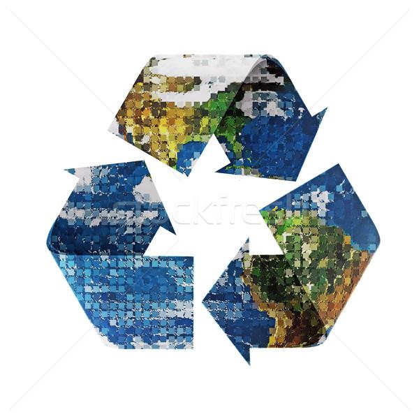 Immagine terra riciclare simbolo originale satellite Foto d'archivio © rcarner