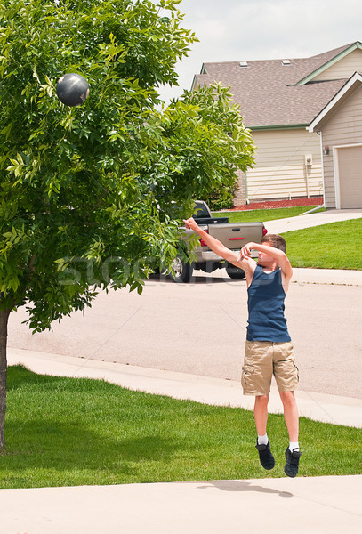 Shooting hoops at home Stock photo © rcarner