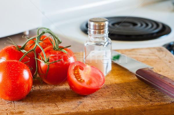 свежие помидоров разделочная доска готовый ломтик есть Сток-фото © rcarner