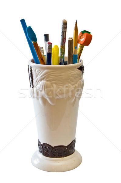 Kalem kavanoz yalıtılmış kalemler kalemler Stok fotoğraf © rcarner