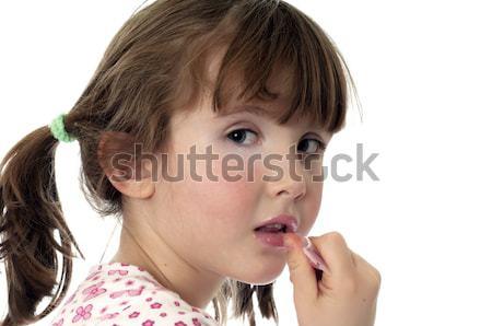 Occupato up labbra bambina lip gloss divertimento Foto d'archivio © rcarner