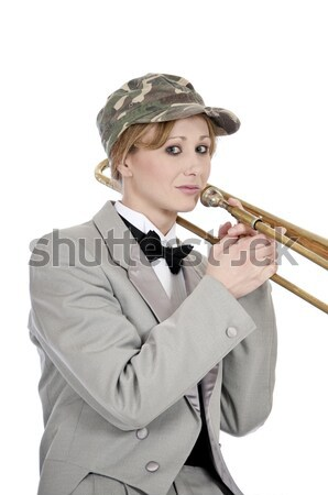 Pretty young woman trombone player Stock photo © rcarner