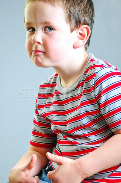 Weinig jongen taai vent kijken cute Stockfoto © rcarner