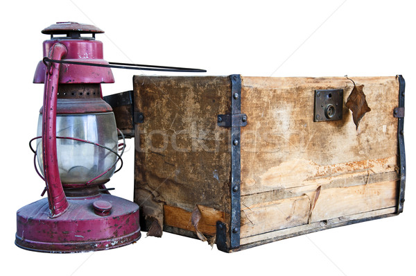 Old chest and weathered lantern Stock photo © rcarner