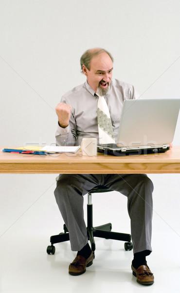 Empresario puno bombear lectura una buena noticia ordenador portátil Foto stock © rcarner