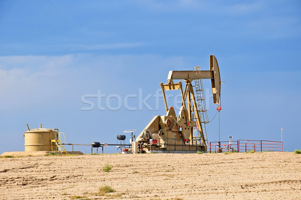 Crude Oil Pump Jack Against a Blue Sky Stock photo © rcarner