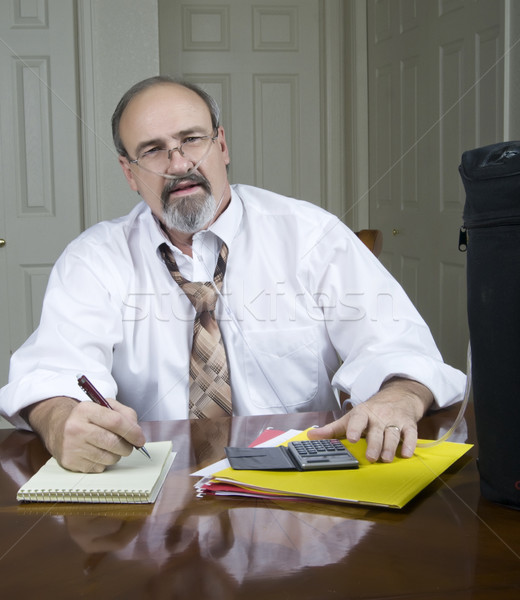 Businessman with a breathing disability. Stock photo © rcarner
