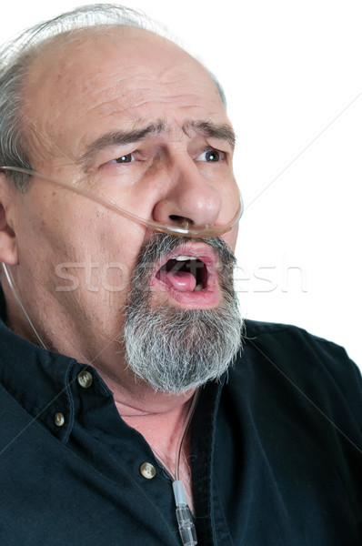 Surprised Male with Breathing Disability Stock photo © rcarner
