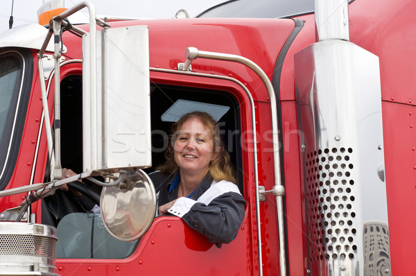 Woman driving an eighteen wheeler Stock photo © rcarner
