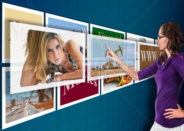 Futuro tecnologia tela sensível ao toque azul parede Foto stock © rcarner