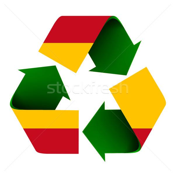 Spaanse vlag recycleren symbool vlag Spanje geïsoleerd Stockfoto © rcarner
