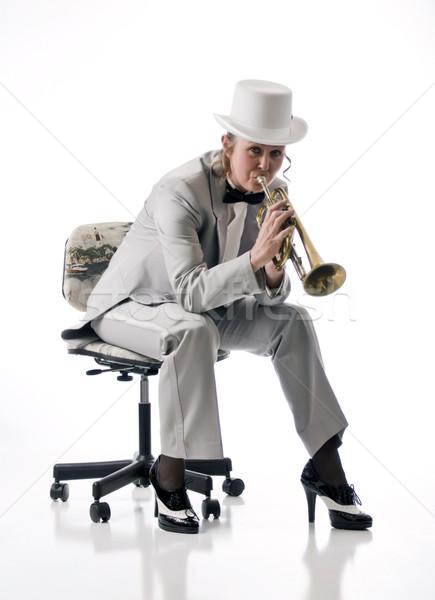 Mooie trompet speler mooie vrouw formeel smoking Stockfoto © rcarner