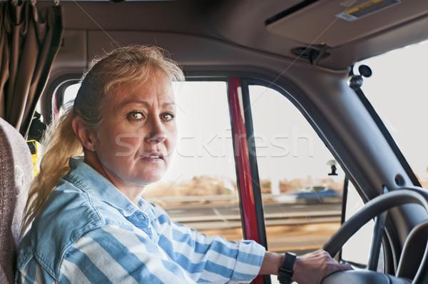 Pretty Woman Driving a Semi-Truck Stock photo © rcarner