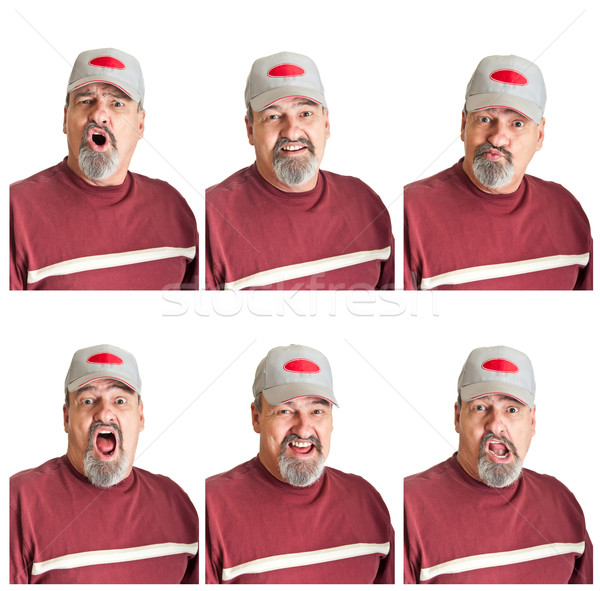 Six Different Expressions On Mature Man Stock photo © rcarner
