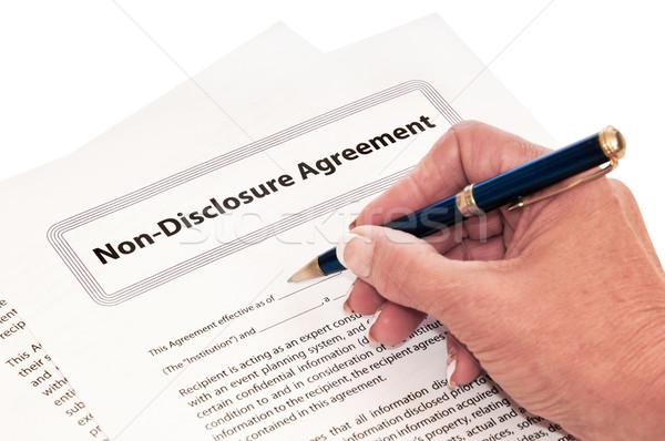 Vereinbarung isoliert weiß Schutz Unternehmen Geheimnisse Stock foto © rcarner