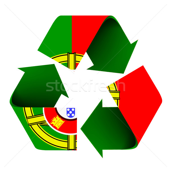Portuguese Flag on a Recycle Symbol Stock photo © rcarner
