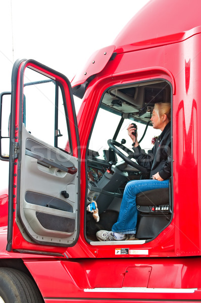 Blonde woman truck driver Stock photo © rcarner