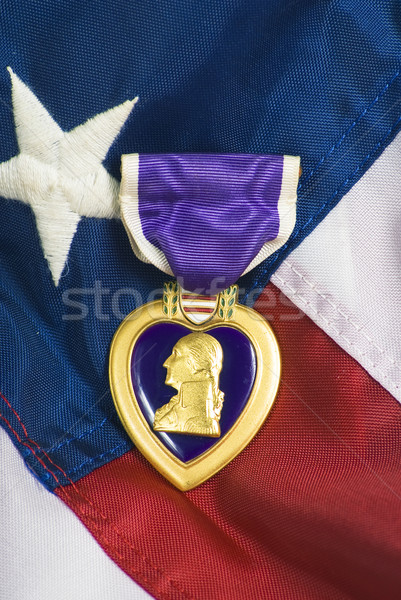 Purple Heart on USA flag Stock photo © rcarner
