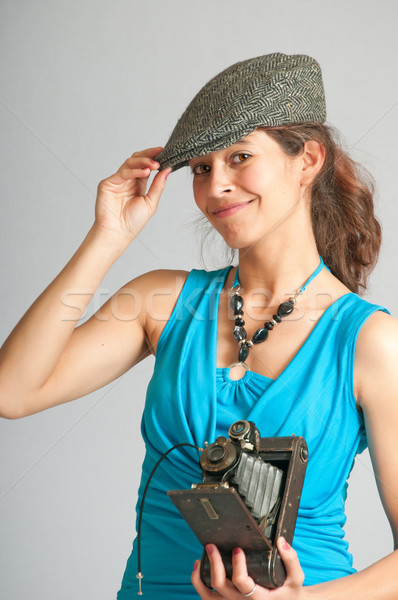 старые стиль Папарацци красивая женщина создают Сток-фото © rcarner