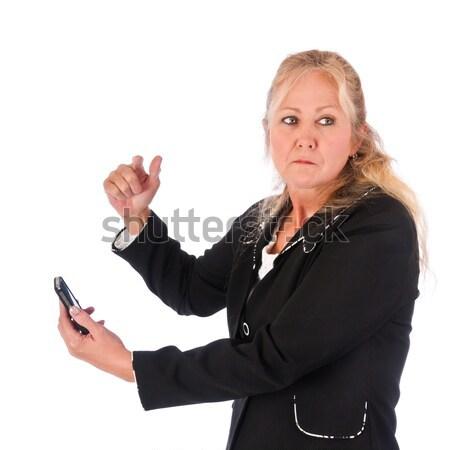 сердиться взрослый женщину сообщение глядя Сток-фото © rcarner