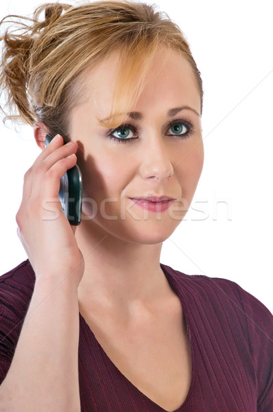 Pretty blonde woman using a cell phone Stock photo © rcarner