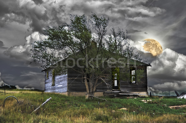 Haunted House Under A Full Moon Stock photo © rcarner