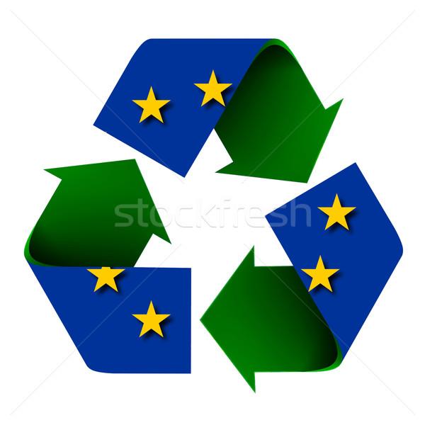 Europeu união bandeira reciclar símbolo isolado Foto stock © rcarner