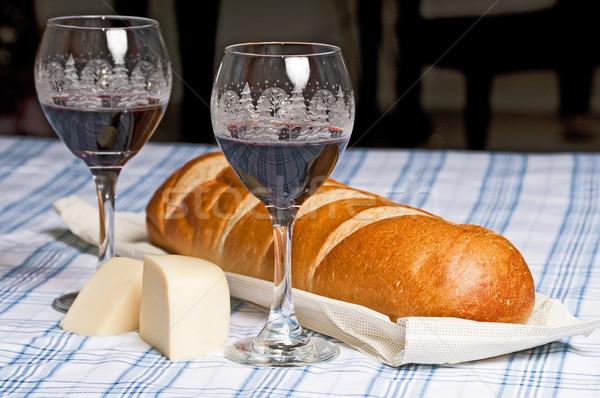 вино Рождества очки хлеб французский хлеб Сток-фото © rcarner