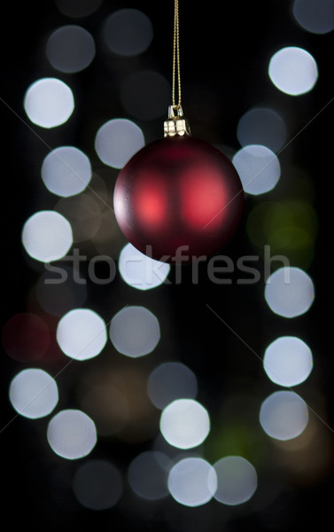Czerwony christmas piłka dekoracji światła Zdjęcia stock © Reaktori