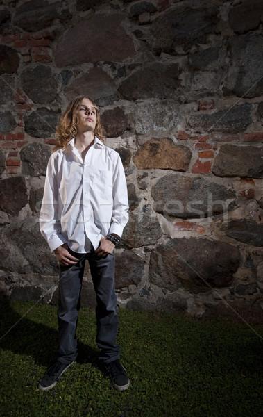 Ciężki biegun długie włosy stwarzające Zdjęcia stock © Reaktori