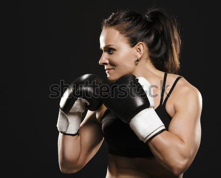 Kobiet myśliwiec gotowy walki piękna muskularny Zdjęcia stock © Reaktori